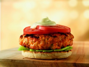 Open Faced Salmon Burger